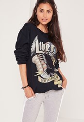 Missguided Liberty Slogan Sweatshirt Navy Blue