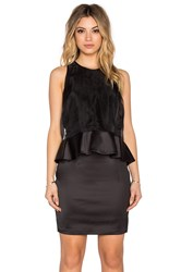 1. State Organza Overlay Ruffle Waist Dress Black