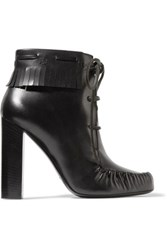 Tom Ford Fringed Leather Ankle Boots Black