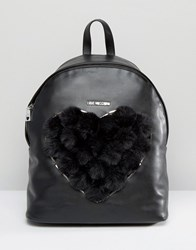 Love Moschino Faux Fur Heart Backpack Black