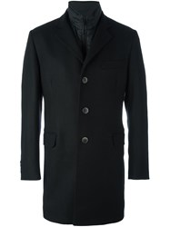 Fay Layered Padded Coat Black