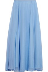 Mason By Michelle Mason Silk Chiffon Maxi Skirt Blue