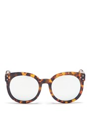 Spektre 'Isabel' Tortoiseshell Acetate Round Mirror Sunglasses Metallic Animal Print