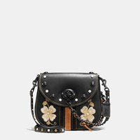 Coach Western Embroidery Turnlock Saddle Bag 23 In Glovetanned Leather Black Copper Black