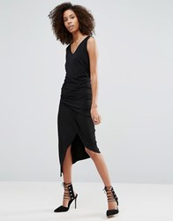 Liquorish Black Sleeveless Asymmetric Ruched Dress With V Neck Black
