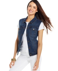Style And Co. Denim Vest Mosaic Wash