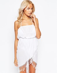 Asos Fringed Wrap Front Bandeau Beach Dress White