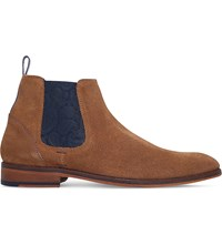Ted Baker Camroon Paisley Detail Suede Chelsea Boots Tan