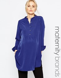 Isabella Oliver Longline Shirt With Button Up Front Navy