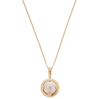 Cabinet 9 Ct Gold Plated Swarovski Crystal Mini Oyster Pearl Pendant Peach