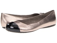 Softwalk Napa Soft Pewter Black Soft Metallic Leather Patent Man Made Women's Flat Shoes