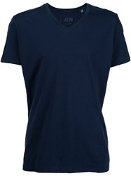 Atm Anthony Thomas Melillo Classic Jersey V Neck T Shirt Blue