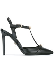 Versace Signature T Strap Pumps Black