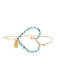 Rafia Heart Bangle Bracelet W Turquoise Golden