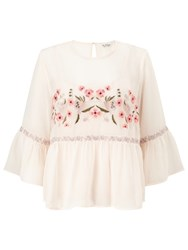 Miss Selfridge Embroidered Gypsy Blouse Nude