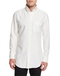 Tom Ford Tailored Fit Washed Oxford Dress Shirt White
