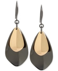 Robert Lee Morris Soho Two Tone Layered Sculptural Drop Earrings Gold