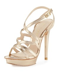 Pelle Moda Farah 2 Strappy Leather Sandal Platinum Gold