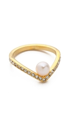 Vita Fede Ultra Mini V Pearl And Crystal Ring Gold Pearl