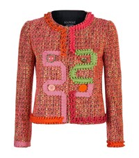 Boutique Moschino Contrast Trim Tweed Jacket Female Pink