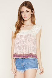 Forever 21 Floral Crochet Panel Top