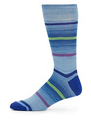 Saks Fifth Avenue Made In Italy Space Dyed Cotton Blend Socks Light Blue