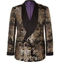 Ralph Lauren Purple Label Slim Fit Double Breasted Silk Jacquard Tuxedo Jacket Black