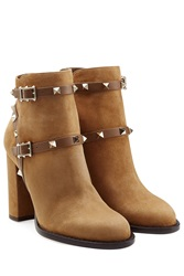 Valentino Suede Rockstud Ankle Boots Camel