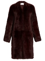 Raey Long Shearling Coat Burgundy