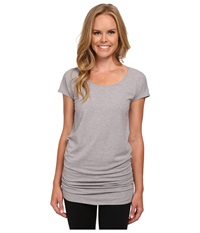 Lucy Yoga Girl Tunic Top Silver Filigree Heather Women's Workout Gray