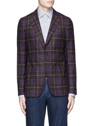 Isaia 'Cortina' Glen Plaid Wool Silk Cashmere Blazer Brown