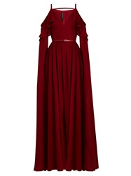 Elie Saab Ruffle Trimmed Cut Out Silk Gown Red