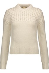 Michael Kors Collection Cable Knit Merino Wool Sweater Ivory