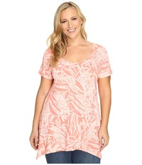 Fresh Produce Plus Size Cancun Vintage Drape Tee Melon Sherbert Pink Women's Clothing Orange