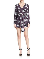 The Fifth Label Rose Print Belted Romper Purple