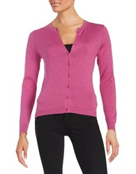 Lord And Taylor Petite Textured Dot Cardigan Purple Orchid