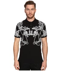 Just Cavalli Gold Rope Print Short Sleeve Polo Black