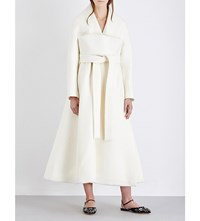 Delpozo Wrap Over Wool And Mohair Blend Coat Antique White
