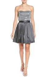Love Nickie Lew Women's Two Piece Strapless Sequin Skater Dress