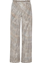Raquel Allegra Tie Dyed Washed Silk Wide Leg Pants Mushroom