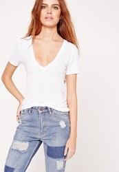 Missguided Ribbed Basic V Neck T Shirt White White