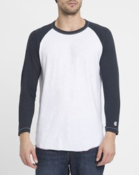Champion White And Navy Todd Snyder Raglan Baseball T Shirt