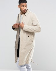 Asos Trench Coat With Parka Detail In Stone Stone