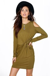 Arisa Knot Front Cold Shoulder Bodycon Dress