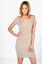 Boohoo Deep V Plunge Bodycon Dress Stone