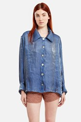 Moses Gauntlett Cheng Loose Button Down Blouse Blue