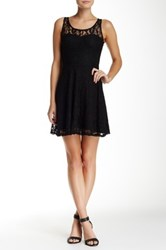Fire Lace Overlay Fit And Flare Dress Black