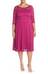 Sangria Stretch Lace Fit And Flare Dress Plus Size Magenta
