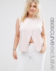 Asos Curve Sleeveless Top With Wrap Front Nude Pink