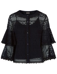 Temperley London Black Lace Tiered Desdemona Blouse
